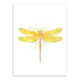 Original Watercolor Dragonfly Poster Prints Animal Picture Hipster Home Wall Art Decoration Canvas Painting No Frame Girls Gifts