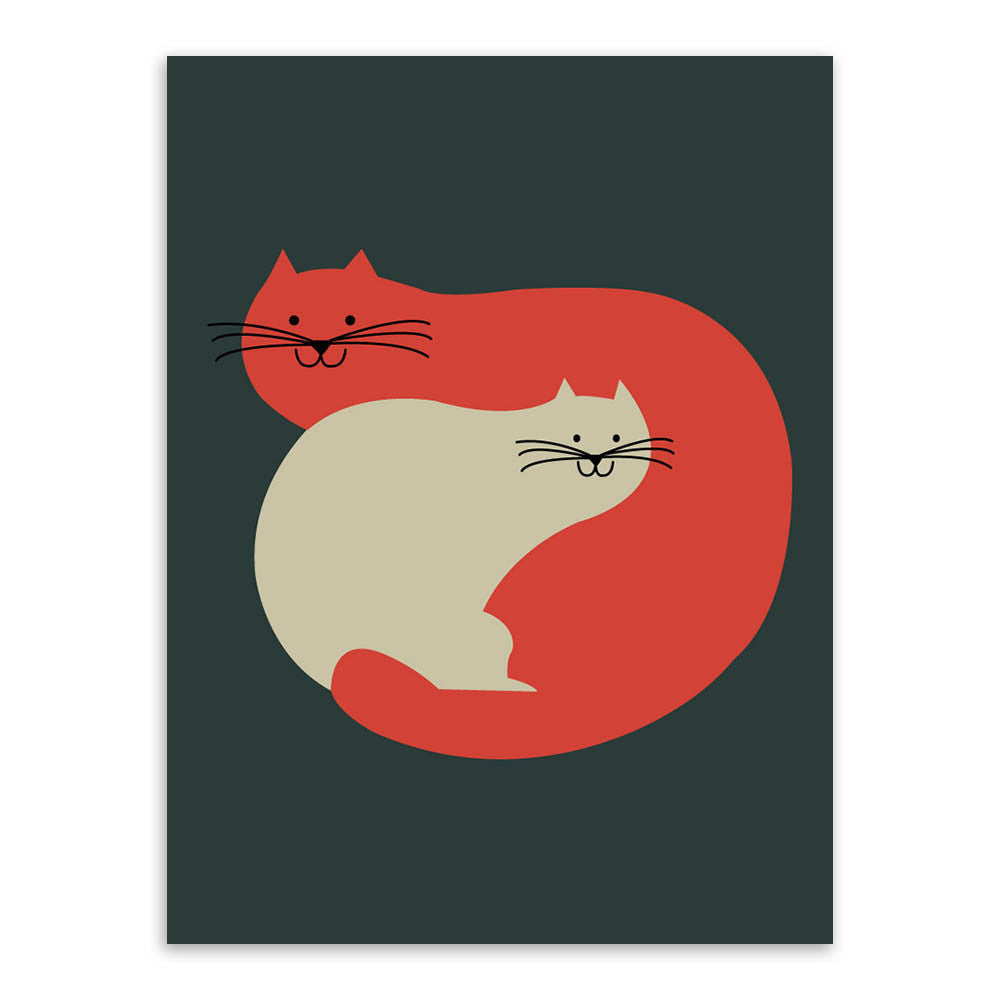 Vintage Retro Minimalist Kawaii Animals Cat Fish Art Print Poster Wall Picture Living Room Canvas Painting No Frame Home decor
