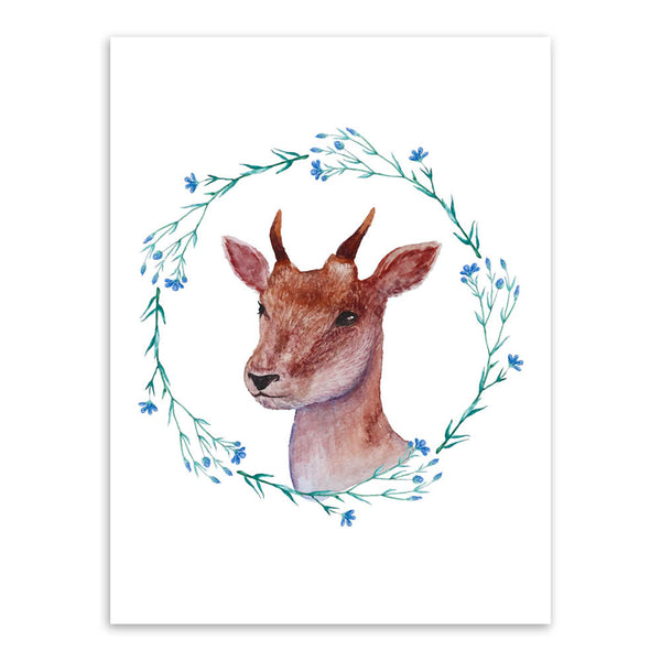 Vintage Nordic Deer Family Animal Flower Wreath A4 Poster Print Living Room Wall Art Picture Home Decor Canvas Painting No Frame