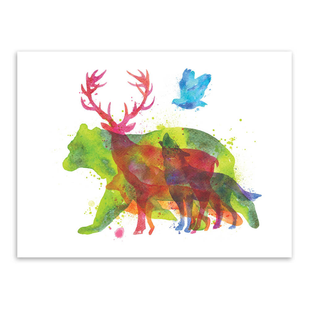 Triptych Watercolor Animals Silhouette Deer Giraffe Elephant Art Print Poster Home Wall Picture Decor Canvas Painting No Frame