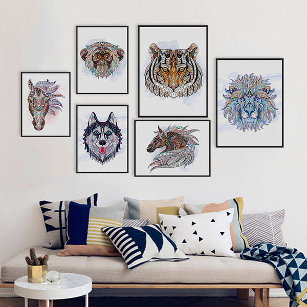 Ancient African National Animals Head Deer Lion Art Prints Poster Living Room Wall Picture Canvas Painting No Frame Home Decor
