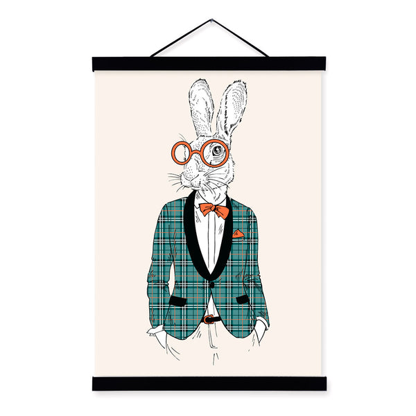 Hipster Bunny Rabbit Modern Fashion Gentleman Animal Wood Framed Canvas Painting Wall Art Prints Picture Poster Scroll Home Deco