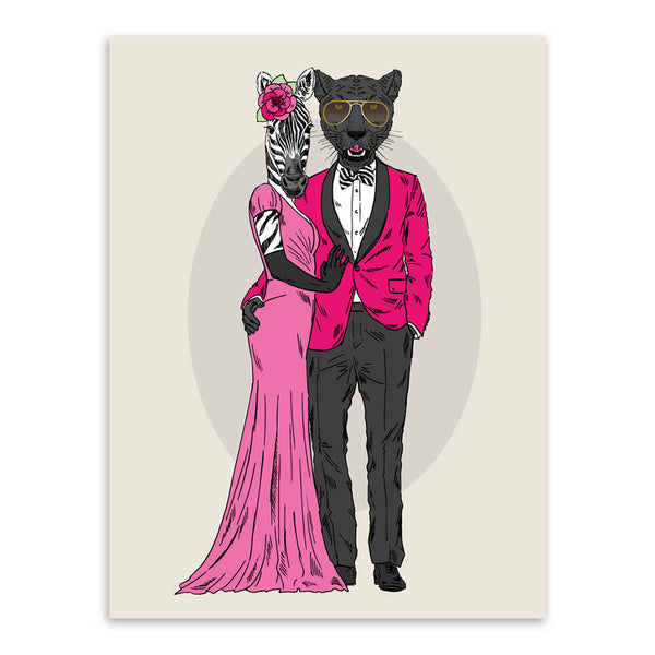 Modern Fashion Animal Deer Giraffe Love Couple Art Print Poster Home Wall Picture Canvas Painting No Frame  Wedding Decoration