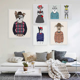 Modern Fashion Animals Cartoon Hippie Dogs A4 Large Art Print Poster Home Wall Picture Canvas Painting Girl Room Decor No Frame
