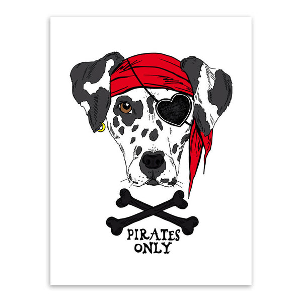 Vintage Retro Hippie Pirate Anmial Cat Dog Pet A4 Art Prints Poster Wall Pictures Canvas Painting Kids Room Home Decor No Frame
