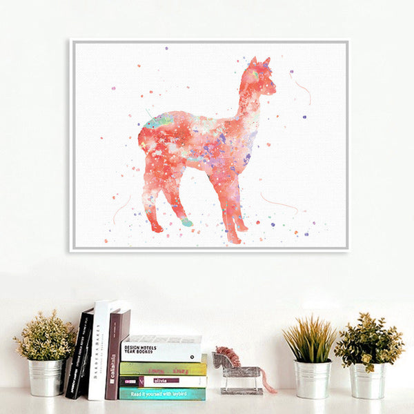 Original Watercolor Alpaca Horse Poster Print Cute Animal Picture Hipster Home Wall Art Decoration Canvas Painting No Frame Gift