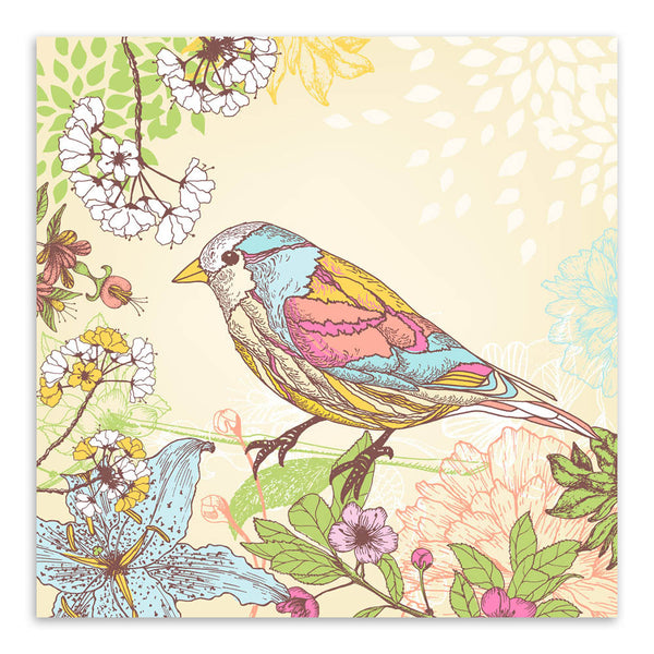 Vintage Retro Colorful Birds Animals Cottage Flower Canvas Large Art Print Poster Rurural Wall Picture Living Room Home Decor