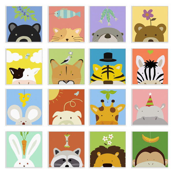 Minimalist Kawaii Animal Cow Giraffe Cartoon Canvas Art Print Poster Nursery Wall Picture Kids Room Decoration Painting No Frame