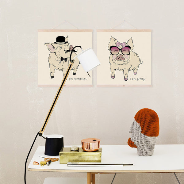Fashion Animal Gentleman Beauty Pink Pig Canvas Big Art Print Poster Wall Picture Kids Room Wedding Decoration Painting No Frame