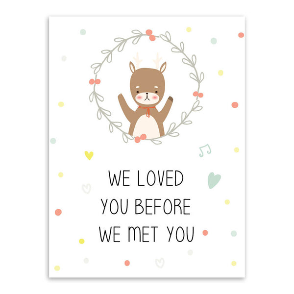 Modern Kawaii Animals Bear Elephant Quote Canvas A4 Art Print Poster Nursery Wall Picture Kids Baby Room Decor Painting No Frame