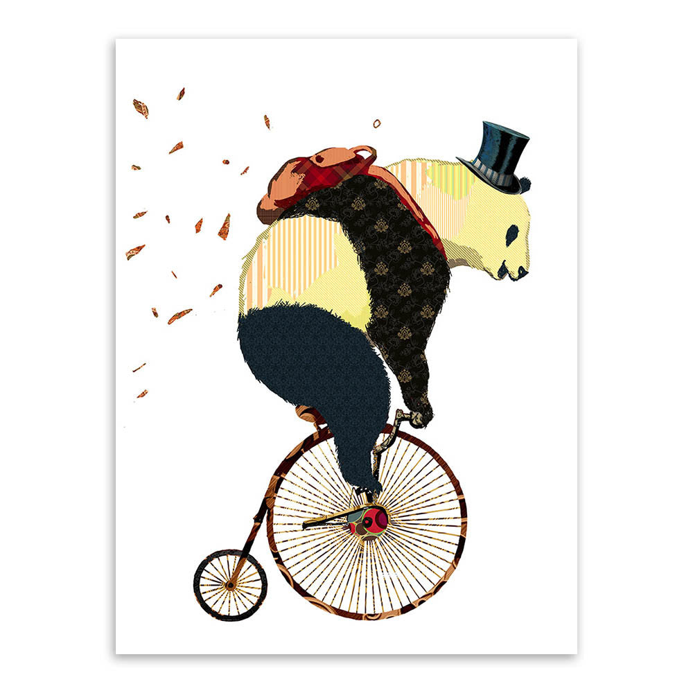 Modern Nordic Cartoon Kawaii Panda Bicycle Art Prints Poster Hippie Animal Wall Picture Canvas Painting No Frame Kids Room Decor