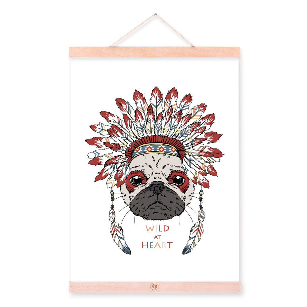 Pug Dog Head Ancient Indian Animals Red Feather A4 Wooden Framed Canvas Painting Wall Art Print Picture Poster Hanger Home Decor