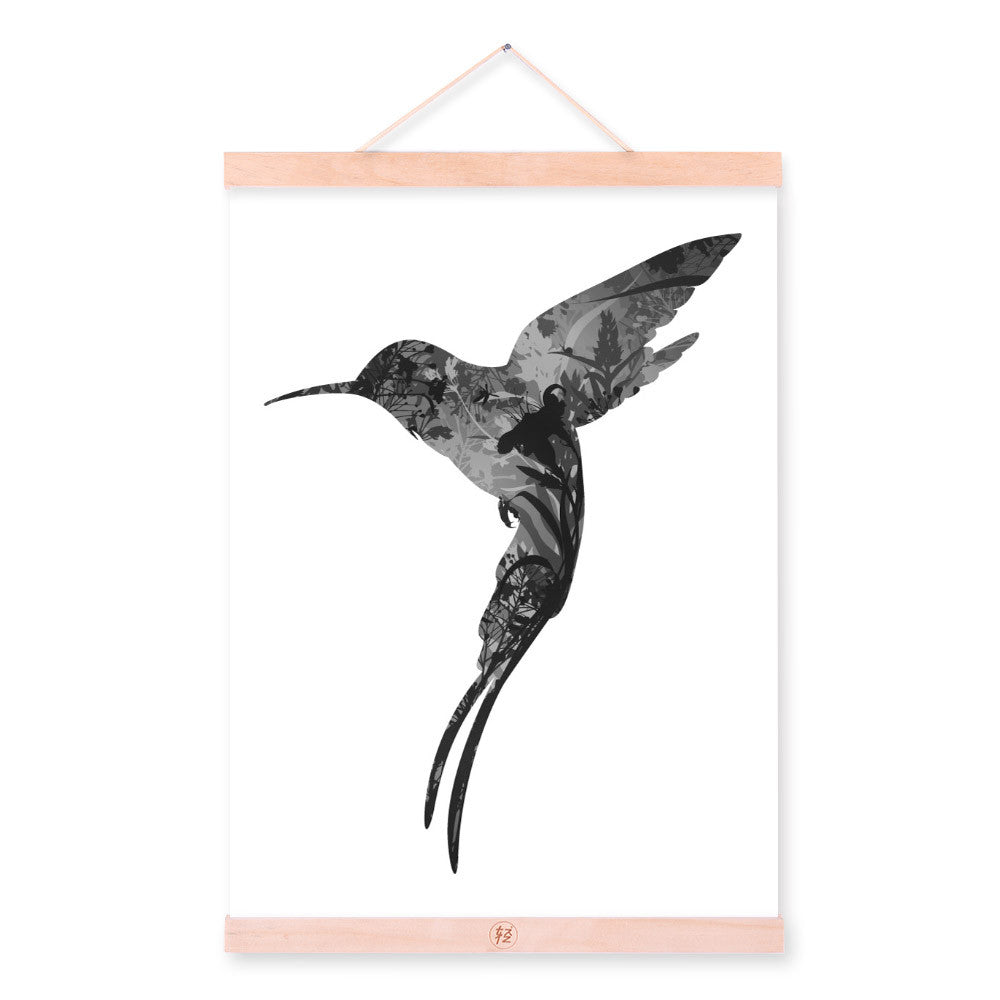 Hummingbird Black White Nordic Minimalist Animal Feather Framed Canvas Painting Wall Art Prints Picture Poster Scroll Home Decor