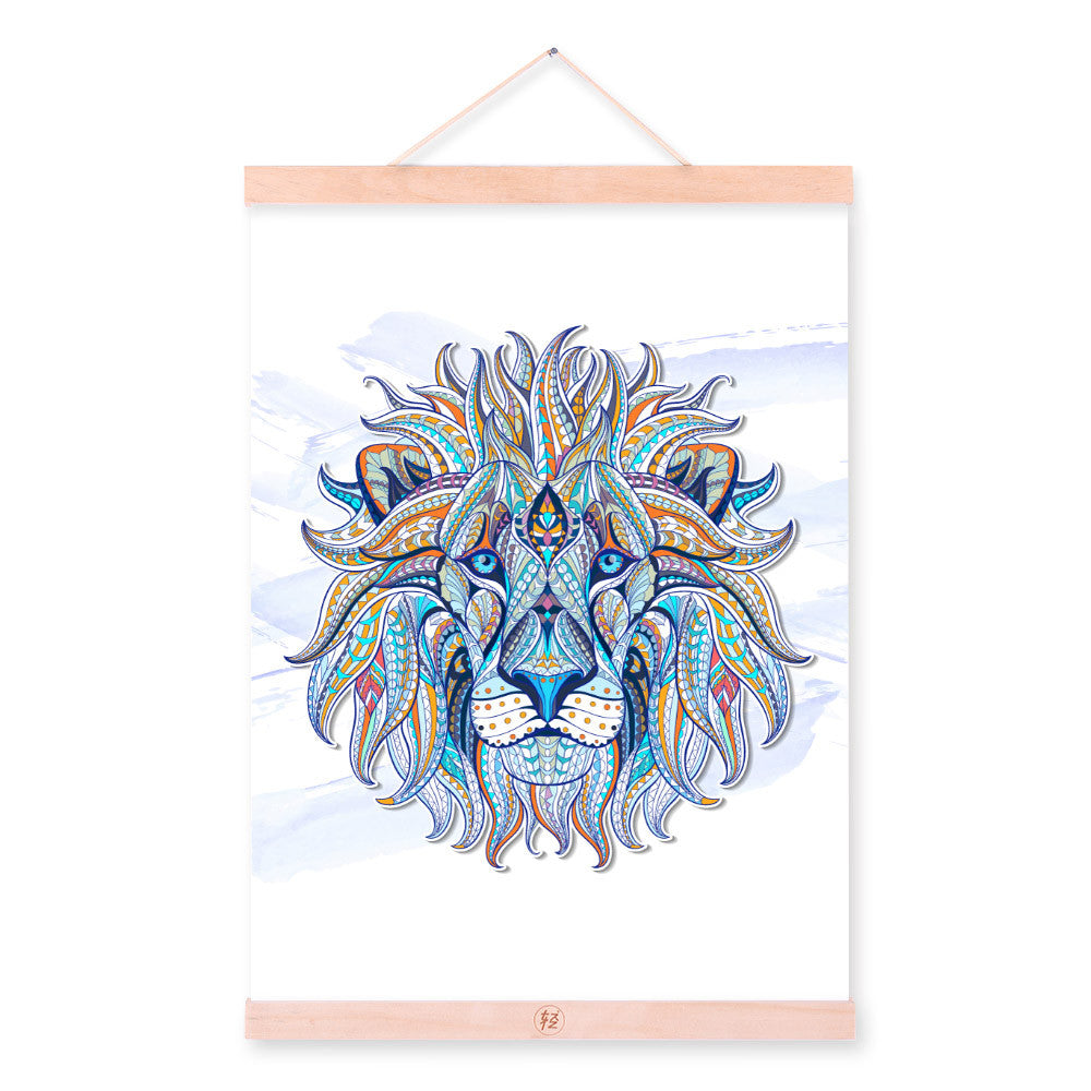Modern Ancient African National Animals Lion Face Totem A4 Framed Canvas Painting Wall Art Prints Picture Poster Bar Home Decor