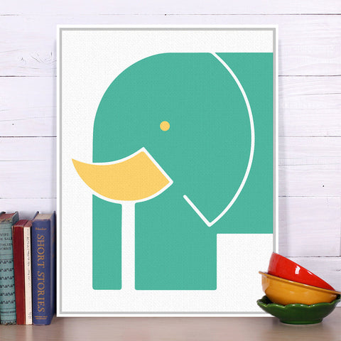 Abstract Minimalist Animal Big Elephant Canvas A4 Art Print Poster Nursery Wall Picture Kids Baby Room Decor Painting No Frame