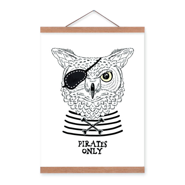 Modern Black White Pirate Anmial Owl A4 Wooden Framed Canvas Painting Wall Art Prints Pictures Poster Hanger Bar Home Decoration