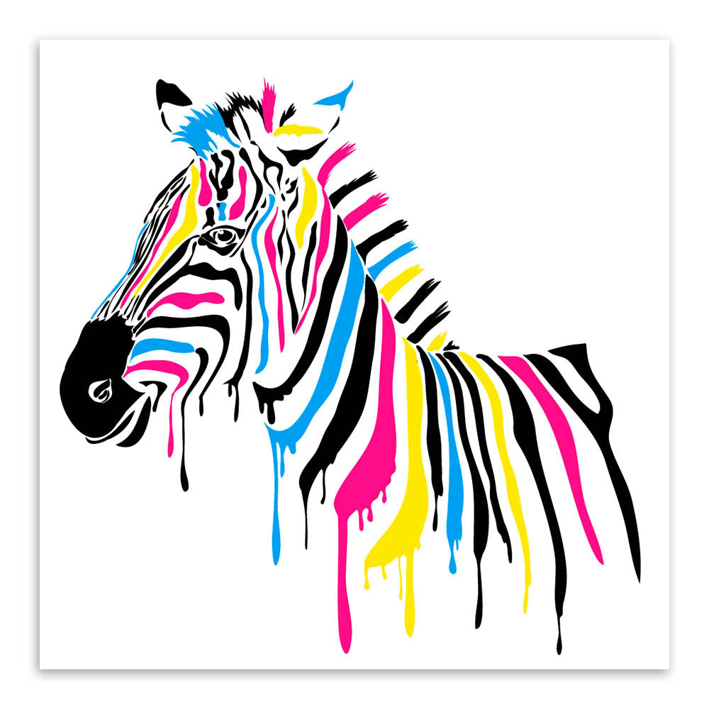 Modern minimalist animals colorful zebra canvas large art for Large colorful wall art