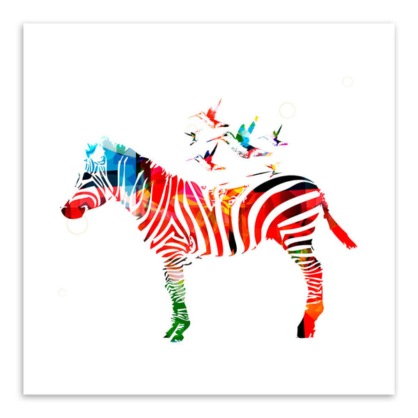 Modern Minimalist Animals Colorful Zebra Canvas Large Art Print Poster Abstract Wall Picture Living Room Decor Painting No Frame