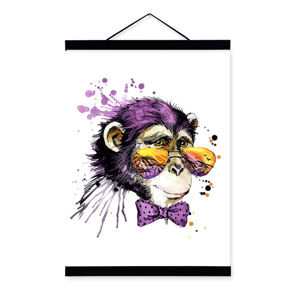 Chimpanzee Watercolor Fashion Animal Wildlife Portrait A4 Wooden Framed Canvas Painting Wall Art Print Picture Poster Home Decor