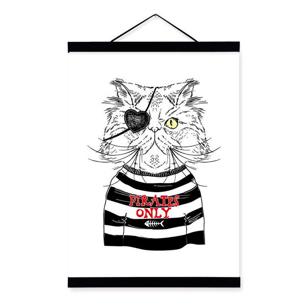 Modern Black White Pirate Anmial Persian Cat Wooden Framed Canvas Painting Wall Art Prints Pictures Poster Hanger Bar Home Decor