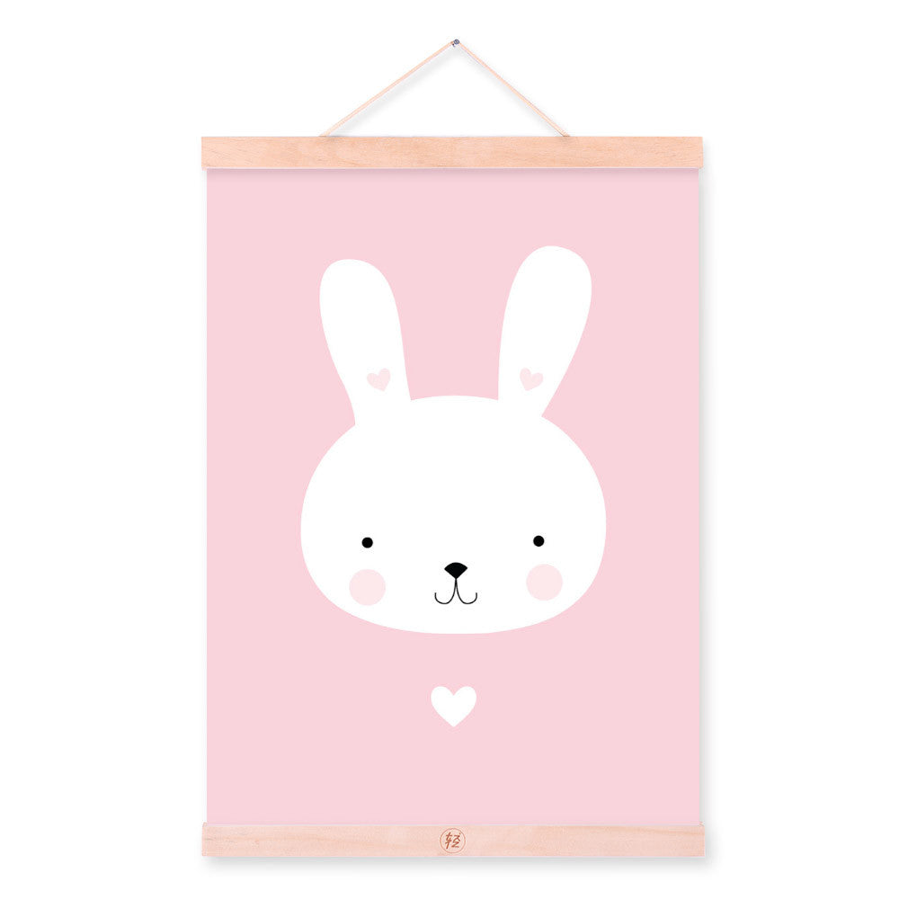Kawaii Animal Mini Heart Rabbit Wooden Framed Canvas Painting Home Kids Room Decor Nuresery Wall Art Print Picture Poster Hanger
