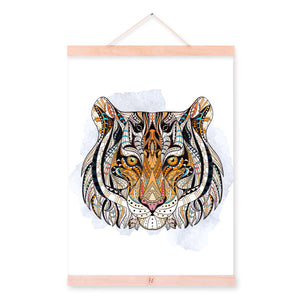 Modern Ancient African Totem Animal Tiger Head A4 Wooden Framed Canvas Painting Wall Art Print Picture Poster Hanger Home Decor