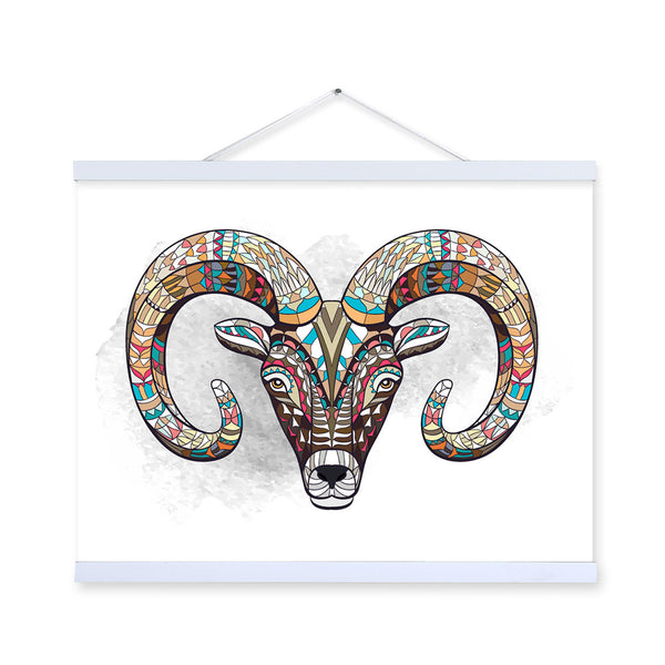 Modern Ancient African National Totem Animals Goat Head A4 Framed Canvas Painting Wall Art Prints Picture Poster Home Decoration
