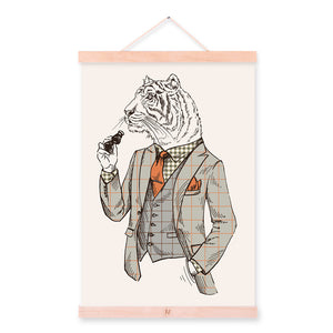 Fashion Tiger Modern Strong Gentleman Animals Portrait A4 Framed Canvas Painting Wall Art Print Picture Poster Office Home Decor
