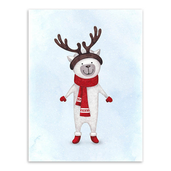 Kawaii Watercolor Christmas Animals Deer Snowman Poster Prints Nursery Wall Art Picture Canvas Painting No Frame Kids Room Decor
