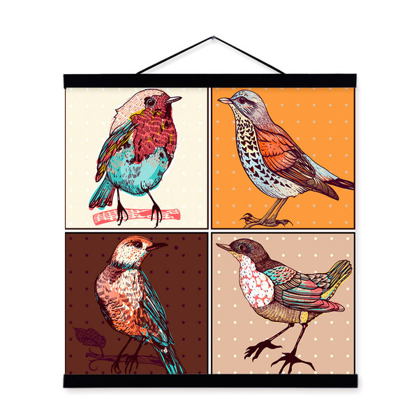 Modern Vintage Retro Colorful Birds Animals Art Prints Poster Living Room Wall Picture Canvas Painting Home Decoration No Frame