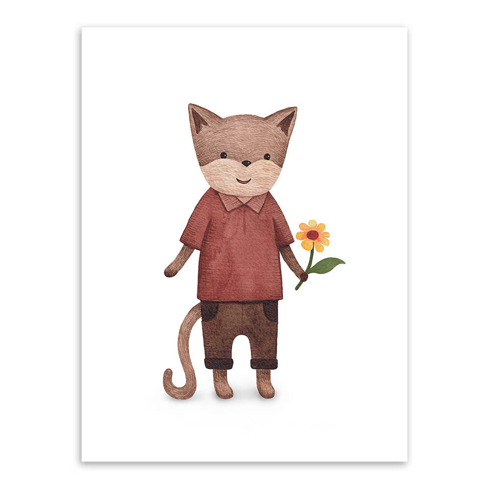 Image of: Drawing Modern Watercolor Kawaii Animals Cat Dog Love Romantic A4 Poster Prints Picture Home Wall Art Canvas Ellaseal Modern Watercolor Kawaii Animals Cat Dog Love Romantic A4 Poster