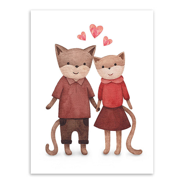Modern Watercolor Kawaii Animals Cat Dog Love Romantic A4 Poster Prints Picture Home Wall Art Canvas Painting Wedding Decoration