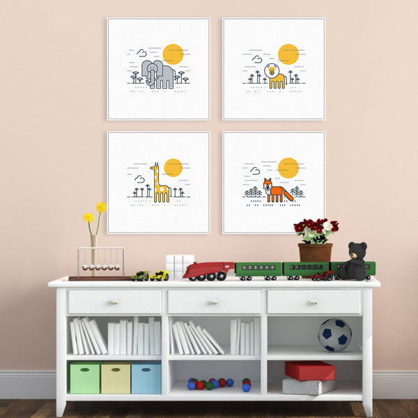 Nordic Cartoon Animals Giraffe Lion Art Prints Poster Kawaii Nursery Wall Picture Canvas Painting No Frame Kids Room Home Decor