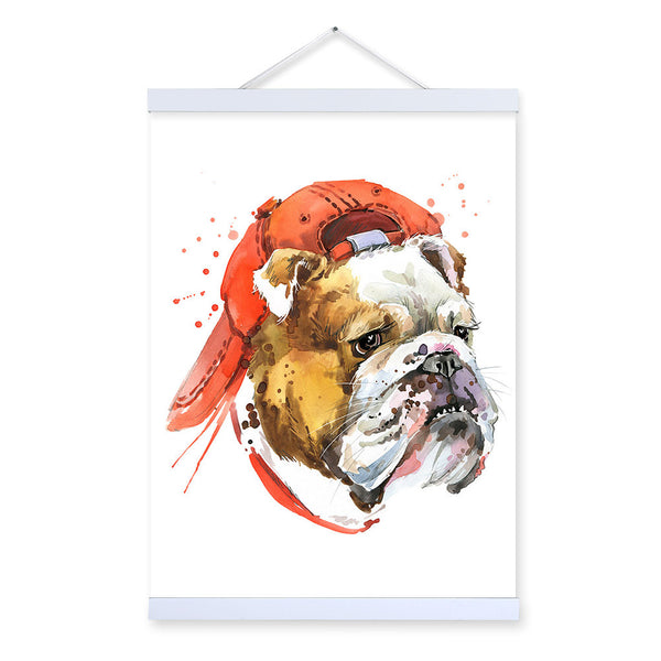 Pug Watercolor Fashion Animal Dog Portrait Wooden Framed Canvas Painting Wall Art Prints Picture Poster Children Room Home Decor