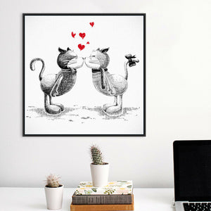 Minimalist Black White Kiss Cats Poster Prints Love Picture Canvas Painting No Frame Wedding Decor Wall Art Valentine Day Gifts