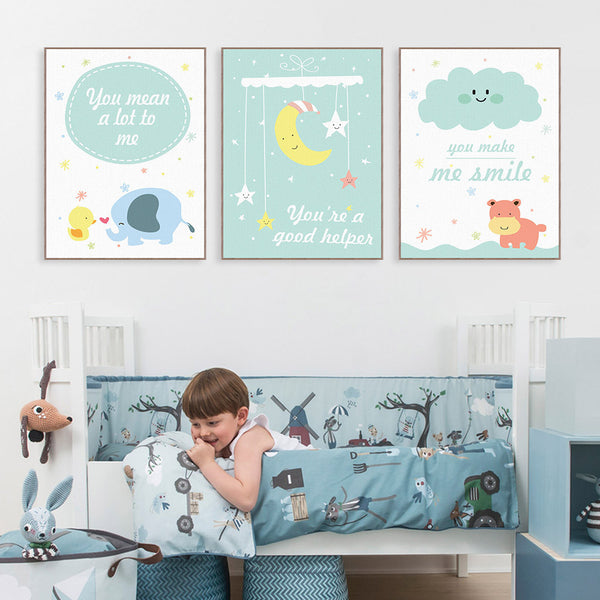 Modern Kawaii Animals Hippo Moon Quotes Canvas A4 Art Print Poster Nursery Wall Picture Kids Baby Room Decor Painting No Frame