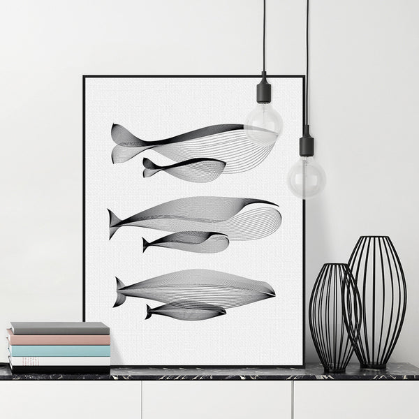 Modern Minimalist Black White Abstract Animals Whale Family Canvas Large A4 Poster Print Nordic Wall Art Home Decor Painting