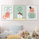 Modern Cartoon Kawaii Animal Lion Pet Quotes Canvas Art Print Poster Nursery Wall Picture Kids Baby Room Decor Painting No Frame