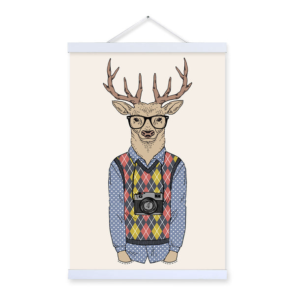 Travel Deer Modern Fashion Gentleman Animal Portrait Camera Hipster A4 Framed Canvas Painting Wall Art Print Picture Poster Deco
