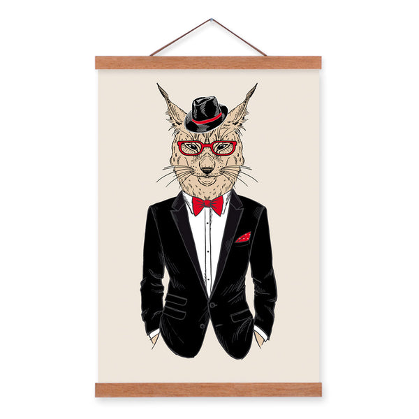Lynx Modern Fashion Gentleman Animals Portrait Hipster A4 Framed Canvas Painting Wall Art Print Picture Poster Office Home Decor