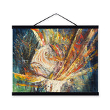 Red Lion Fish Modern Impressionism Colorful Wood Framed Canvas Oil Painting Wall Art Print Picture Poster Living Room Home Decor