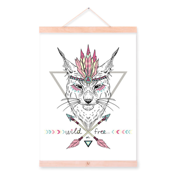 Wolf Portrait Ancient Indian Animal Colorful Feather Graphic Wood Framed Canvas Painting Wall Art Print Picture Poster Home Deco