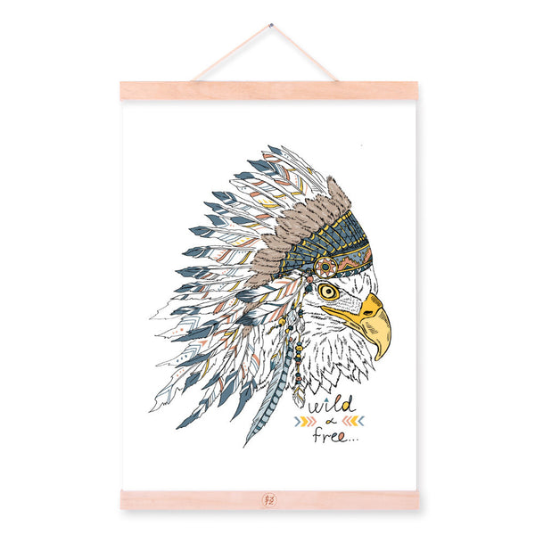 Eagle Head Ancient Indian Strong Animal Feather A4 Wooden Framed Canvas Painting Wall Art Print Picture Poster Scroll Home Decor