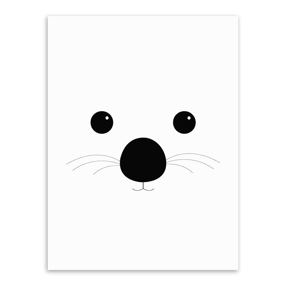Modern Black White Minimalist Bear Animal Face A4 Art Print Poster Nursery Wall Picture Canvas Painting Kids Room Decor No Frame
