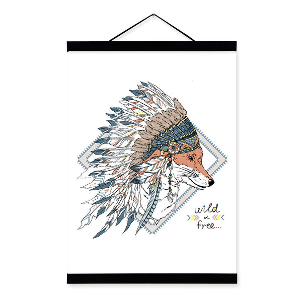 Fox Face Ancient Indian Strong Animals Feather Graphic A4 Wooden Framed Canvas Painting Wall Art Print Picture Poster Home Decor