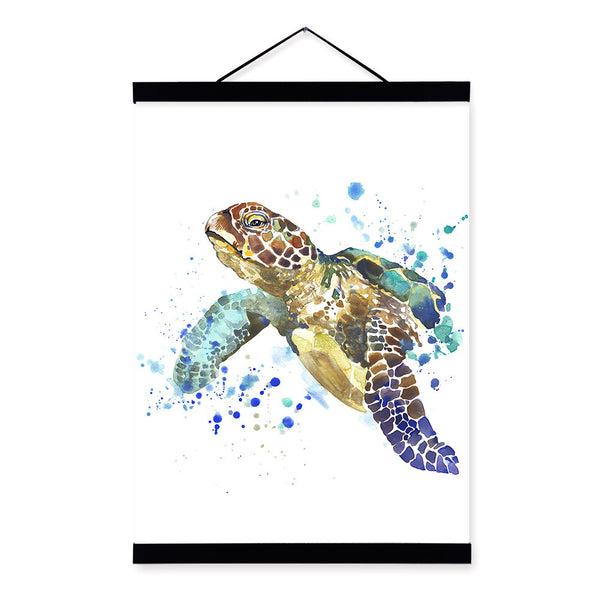 Sea Turtle Watercolor Fashion Animal Portrait Wood Framed Canvas Painting Wall Art Print Picture Poster Children Room Home Decor