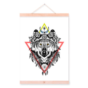 Wolf Graphic Ancient Indian Animal Black White Dream Catcher A4 Wood Framed Canvas Painting Wall Art Print Pictures Poster Decor