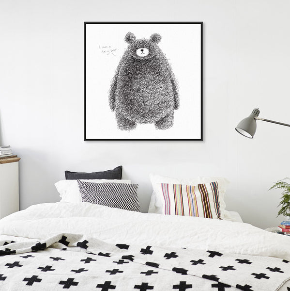 Animal Kawaii Hairy Bear Black White Minimalist Canvas Big Art Print Poster Wall Picture Kids Room Home Decor Painting No Frame
