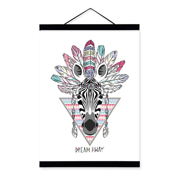 Zebra Ancient Indian Animal Colorful Feather Graphic A4 Wooden Framed Canvas Painting Wall Art Prints Pictures Poster Home Decor