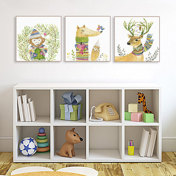 Modern Watercolor Cottage Kawaii Animal Deer Fox Canvas Art Print Poster Nursery Wall Pictures Kids Room Decor Painting No Frame